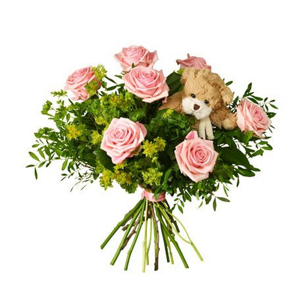 Image 1 of 1 of Babybirth bouquet with teddy bear