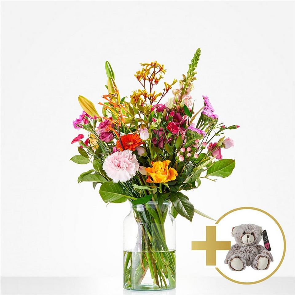 Image 1 of 1 of Combi Bouquet: Hugs; including little bear for € 10