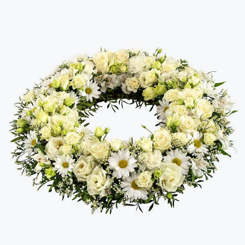 Image 1 of 1 of Funeral Wreath with texted ribbon