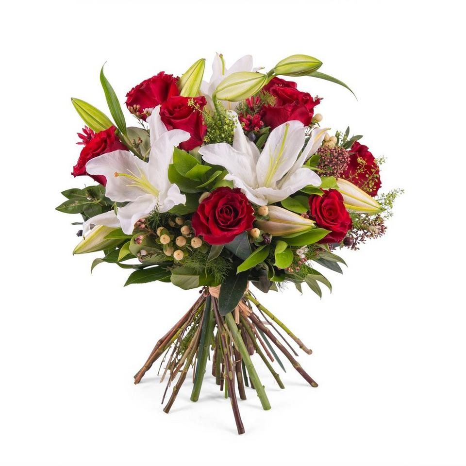 Image 1 of 1 of Arrangement of Roses with Lilies
