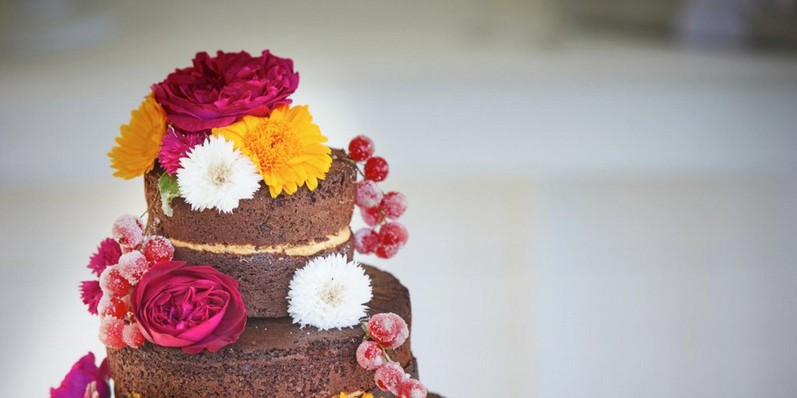 naked-chocolate-wedding-cake-edible-flowers-fruit